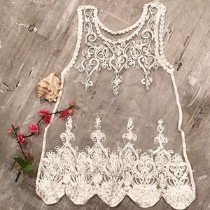 Swim Cover Dress Top White with Embroidery